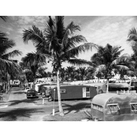 Mobile Homes Along A Road Trailer Park Hollywood Beach Florida USA Canvas Art