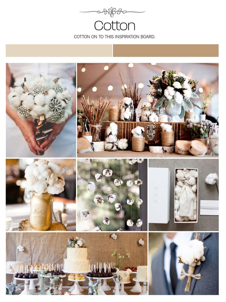 Cotton wedding inspiration board, color palette, mood board via Weddings Illustrated