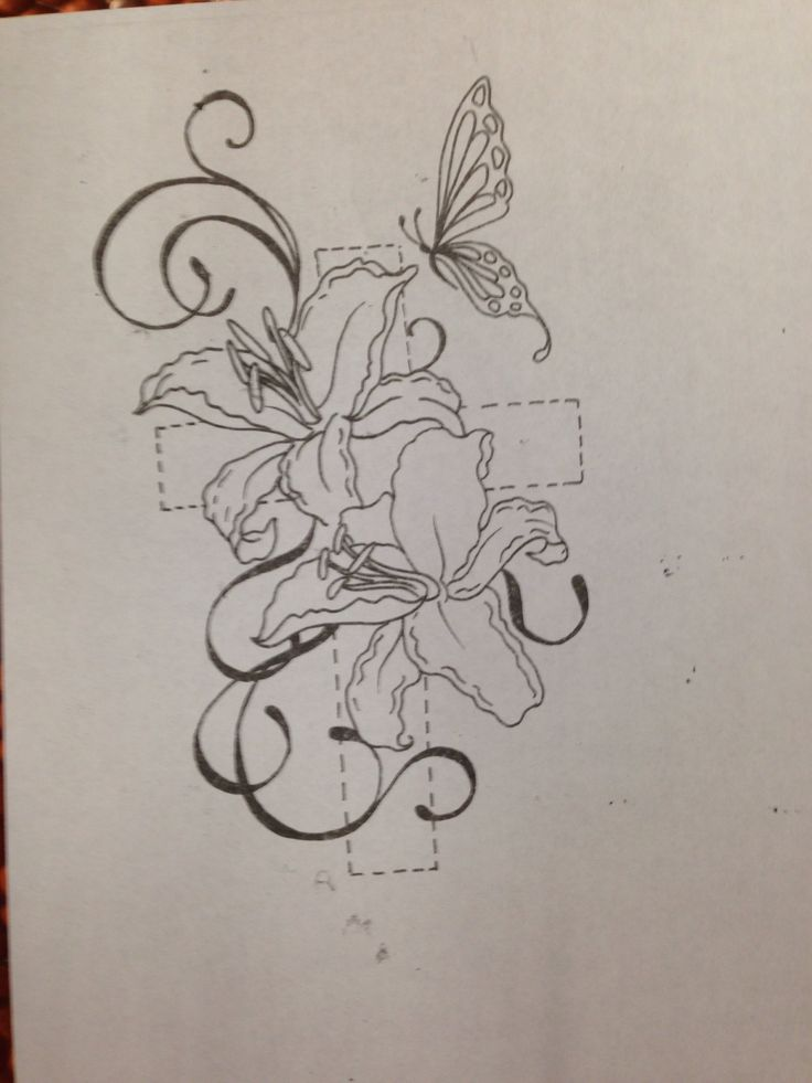 Cross with lilies - minus the butterfly tho. Possible cover up for tattoo mistake with ex?