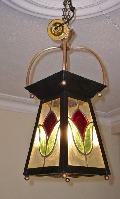 Antiques Atlas - Arts And Crafts Stained Glass Lantern