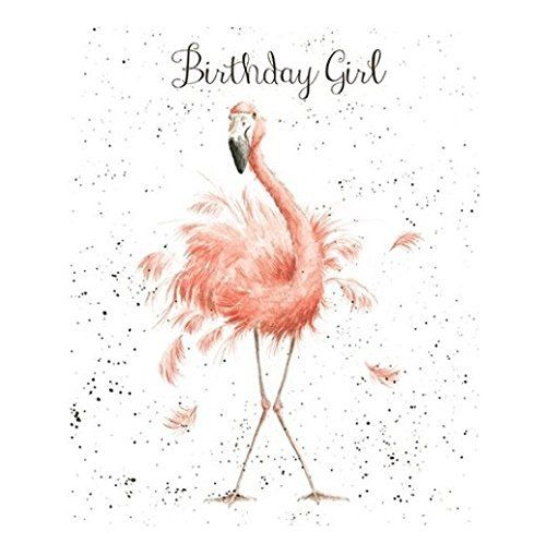 Greetings Card - WRE2173 - Fun, Feathers and Whiskers - Birthday Girl - Flamingo
