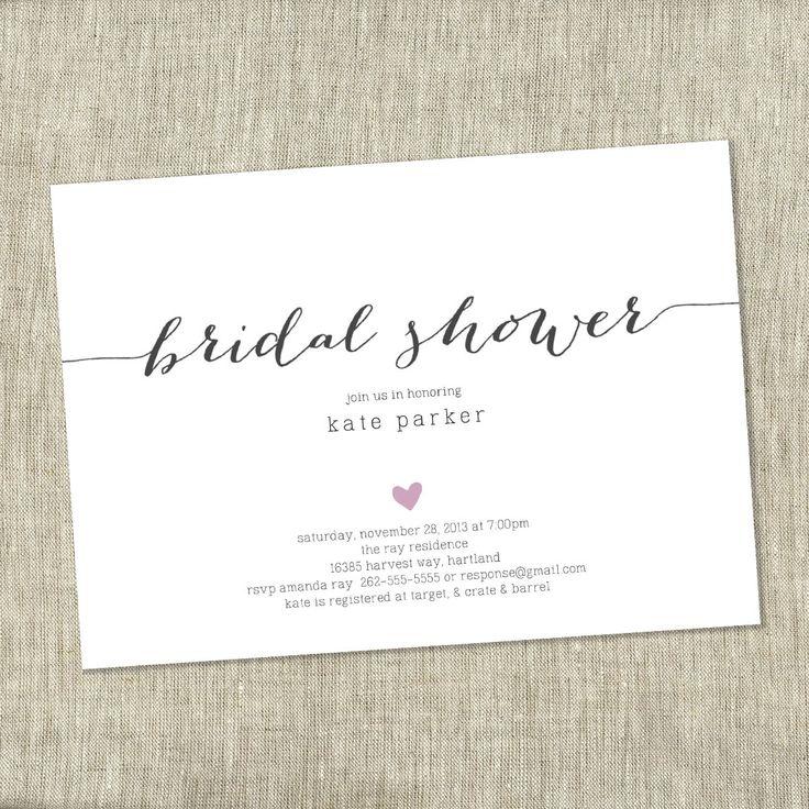 Bridal shower invite heart shower invite simple modern for Modern bridal shower invitations