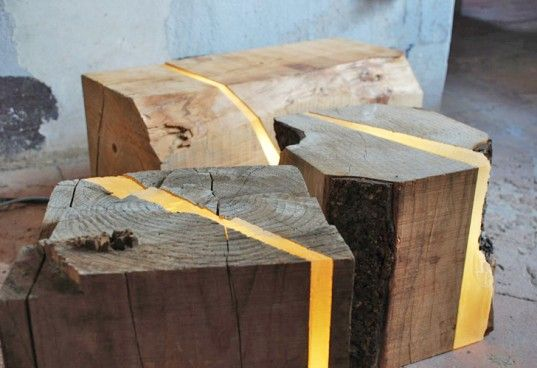 Unique accent pieces/lamps made from salvaged #wood Brecce LED Lights by Marco Stefanelli. #decor #home