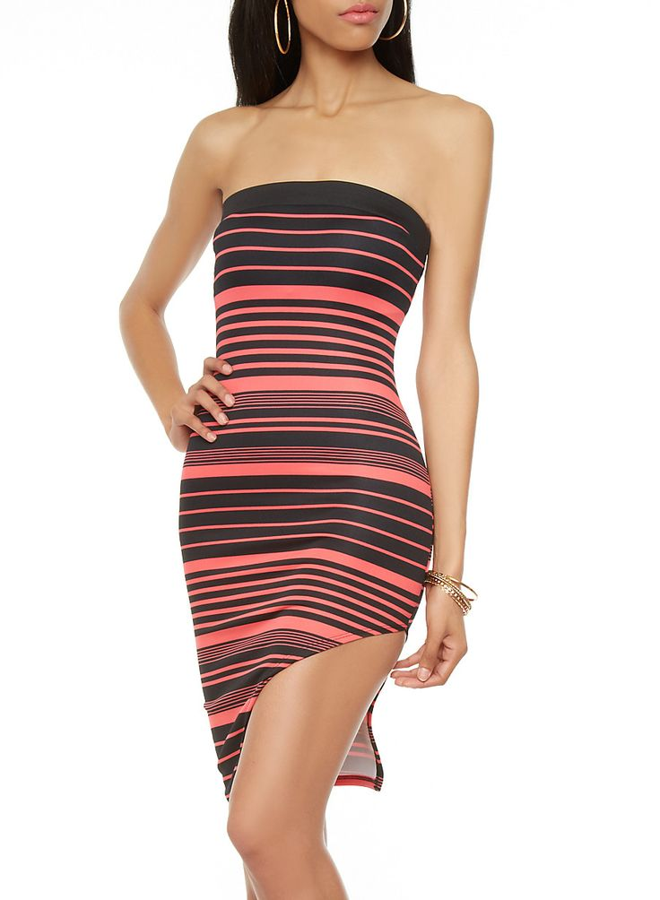 Strapless Variegated Stripe Short Dress with Side Slit - Rainbow - 0094058758137