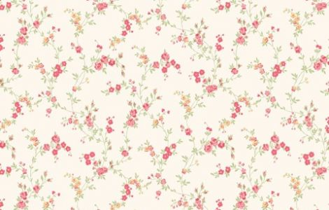 Caramel Red – Floral – Shabby Chic – Miniature – Wallpaper