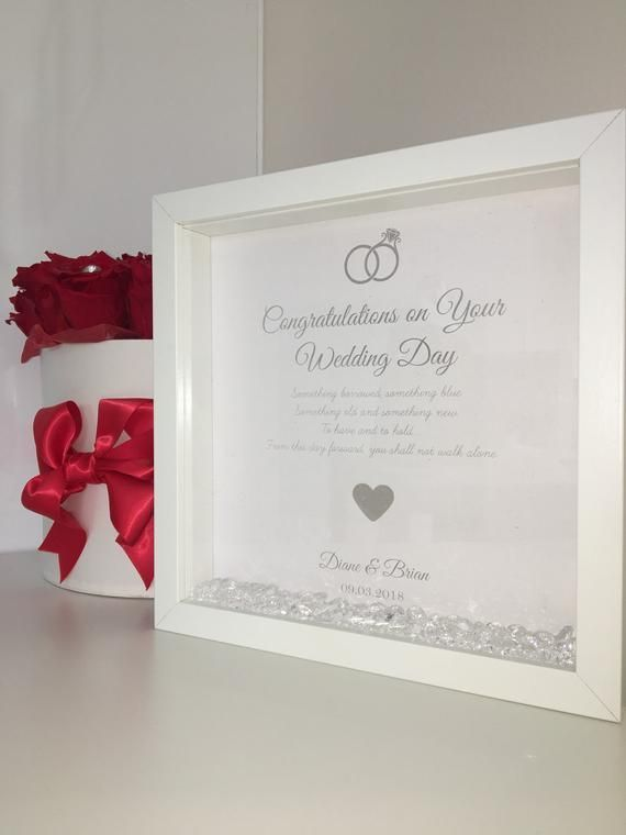 Handmade Personalised Box Frame Wedding Gift For The Bride And Groom Love Poem Present Cr Box Frames Wedding Frames Congratulations On Your Wedding Day