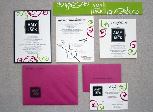 Hot Pink Lime Green Wedding Invitation Inspired To Make Every Day Life Work Stellar Invitations