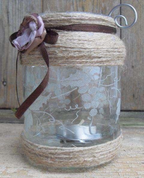 Őszi melódia -mécses tartó, Dekoráció, Otthon, lakberendezés, Dísz, Gyertya, mécses, gyertyatartó, A mécses tartó újrahasznosított befőttesüvegből készült. Az üvegre szőlős inda mintát g..., Meska