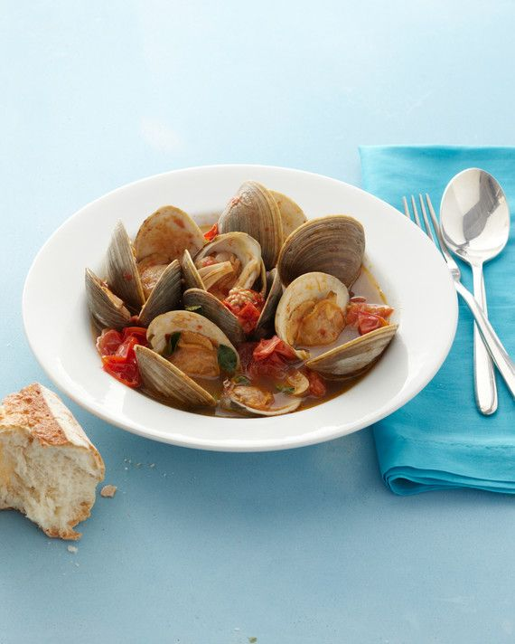 Steam clams in a quick-cooked sauce of cherry tomatoes, garlic, red-pepper flakes, and oregano, then serve with rustic bread to soak up every last drop of precious broth.