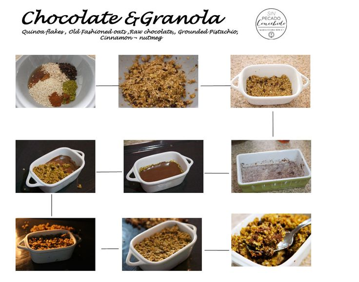 1/2 Cup of oldfashioned oats, 1/4Cup of quinoa flakes, 2Tbs gound pistachio,  2Tbs of maple syrop  2Tbs of coconunt oil,  cinnamon & nutmeg mix  ingredients untill compacted. Put a layer of granola in  a mold, then add the ganache: 1/2Cup of raw grated chocolate + less than 1/2 cup of coconut milk, boil the milk and add it in to  the chocolate, cover it for 10 mins and wisk. take it to the refrigerator for 30 mins,then take it out, put another layer of granola & bake 30 mins