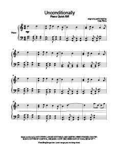 Unconditionally - Katy Perry. Download free sheet music for over 250 hit songs at www.PianoBragSongs.com.