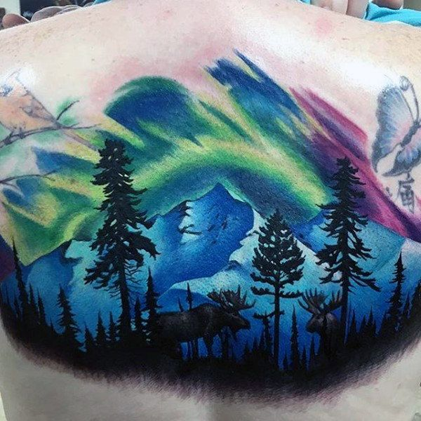 Mens Back Northern Lights Tattoo