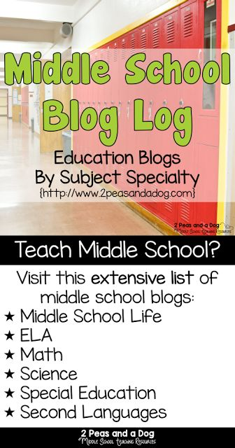 A fantastic collection of middle school teacher blogs sorted by subject specialty from the 2 Peas and a Dog blog.
