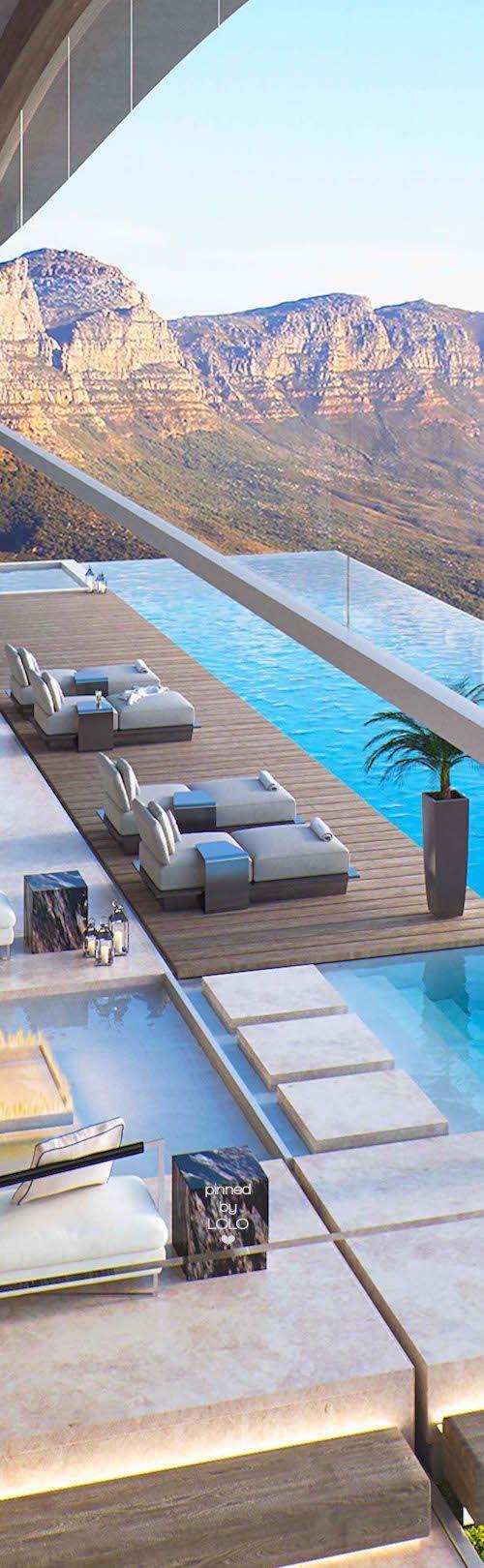 marche dans l'eau stylé, terrasse et piscine a débordement ok