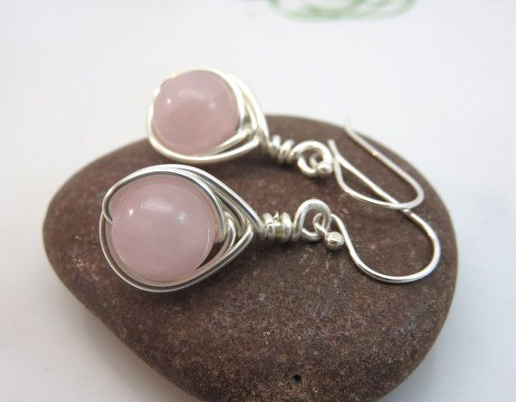 Rose quartz earrings   wire wrapped gemstone by GonzalezGoodies