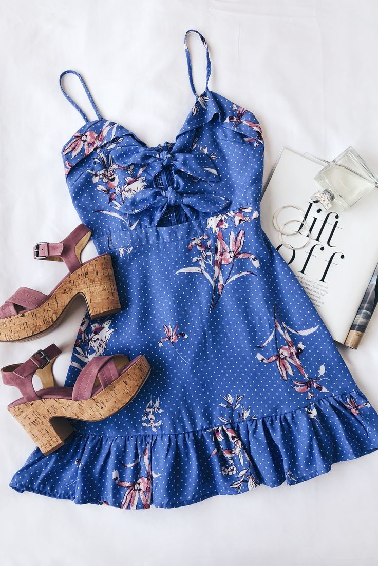 Vanessa Periwinkle Blue Floral Print Tie-Front Mini Dress