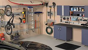 Garage Organization - Garage Storage, Panel Mounted Systems, Panel Mounted Kits, Work Tables, Shelves, Cabinets, Bike Racks, Safety Guides & Mirrors, Recycling Trash Cans, Gel Mats and many more....  KitchenSource.com