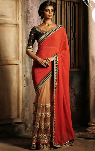Picture of Gorgeous Beige and Pale Coral Designer Saree