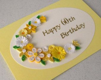 Items similar to Handmade quilled birthday greeting card with quilling flowers on Etsy