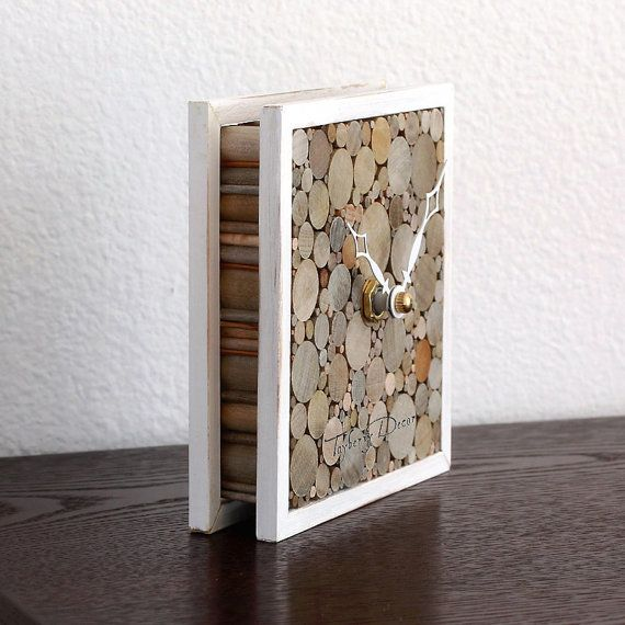Rustic Wood Table Clock Shabby Home Decor by TayberryDecor on Etsy