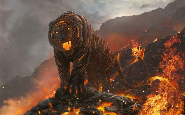 кошка, горы, лава, огонь, тигр, арт