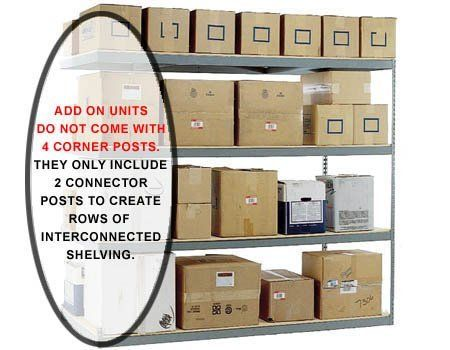 "Boltless Shelving Adder - 60""W x 24""D - 1200# shelf cap. by Western Pacific. $103.96. These 5' Wide Long-span Boltless Shelving Adder units are designed to use the posts of existing shelf units to create rows of connected shelving. These units DO NOT come with 4 corner posts, but rather contain 2 connector posts. Add-on units allow you to build continuous rows of shelving that are interconnected in runs of multiple units of your choice. - - WOOD DECKS ARE NOT ..."
