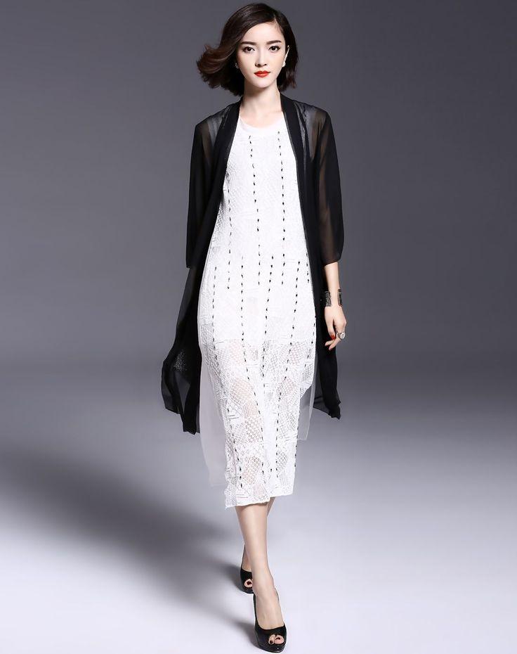 #AdoreWe #VIPme Sweaters & Cardigans❤️Designer missshine Black 3/4 Sleeve Urtrathin Summer Long Knit Cardigan - AdoreWe.com