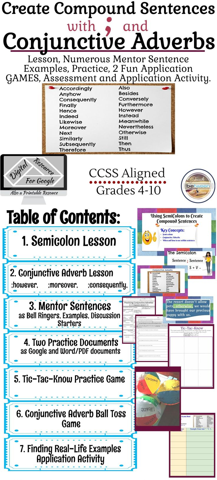 Teach your students how to create compound sentences with semicolons, and compound sentences with semicolons and conjunctive adverbs! This Lesson will provide your students with explicit explanations using mentor sentences, two fun games, two great practice activities, application activities, and a potential summative assessment!