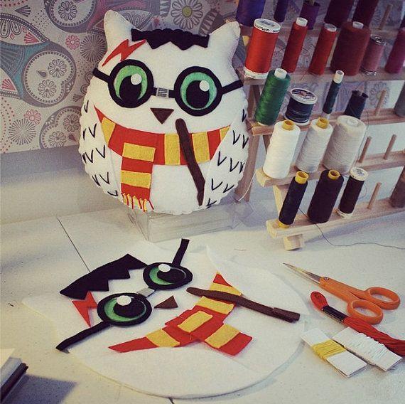 Harry Potter Owl Handmade Felt Plush Toy by Scrabblekitty on Etsy
