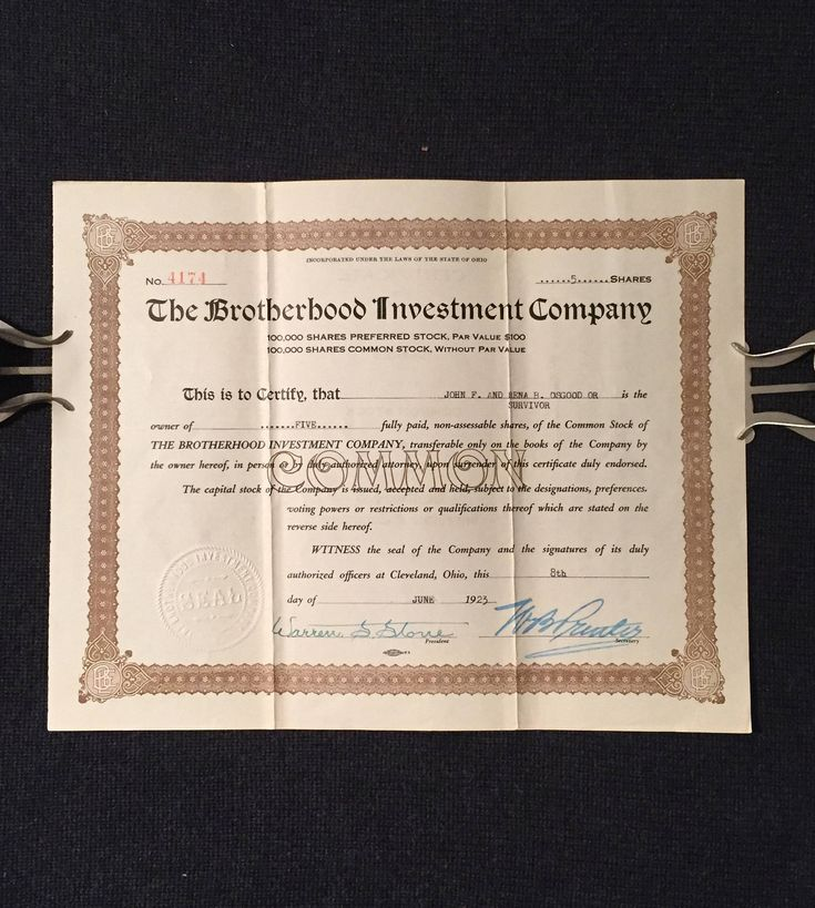 Antique Stock Certificate - The Brotherhood Investment Company - 1923 Common Stock Certificate - Locomotive Engineers by PifesPicks on Etsy