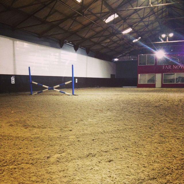 The indoor arena at Far Nova Livery Yard, Sheffield.