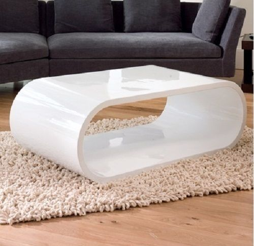 OVAL DESIGNER WHITE GLOSS COFFEE TABLE