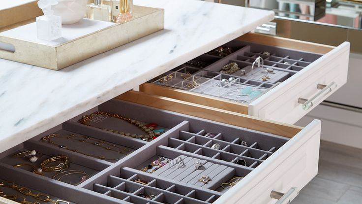 Jewelry Storage - White Cabinetry - Closet Ideas - Container Store - Home Organization