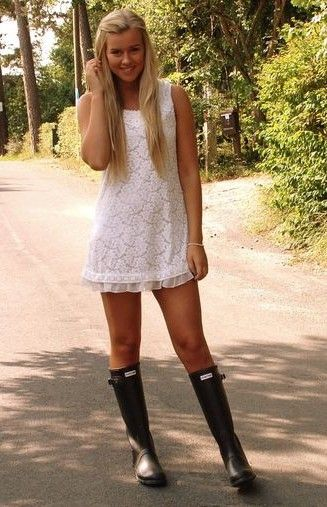 Dress With Rain Boots Clothes Pinterest