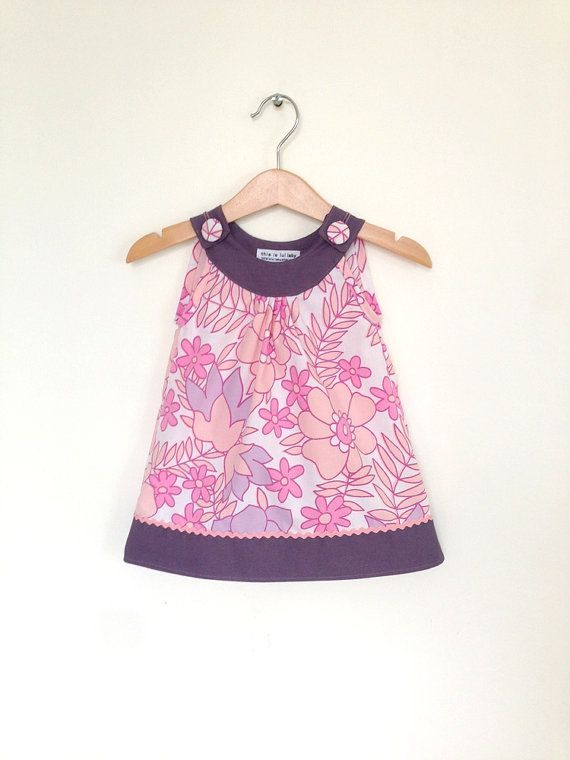 Baby dress 6 to 12 months, retro baby girl clothes, pink and purple, infant dress, baby girl clothing UK