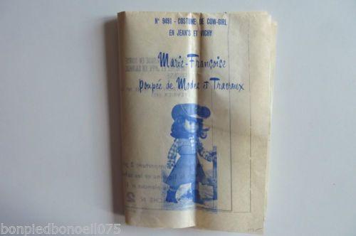 PATRON-M-FRANCOISE-DE-M-amp-T-Costume-de-Cow-Girl-en-jean-039-s-et-vichy-1975