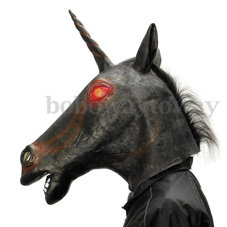 Masque Latex Halloween Tête Cheval Evil Licorne Cospaly Masquerade Déguisement