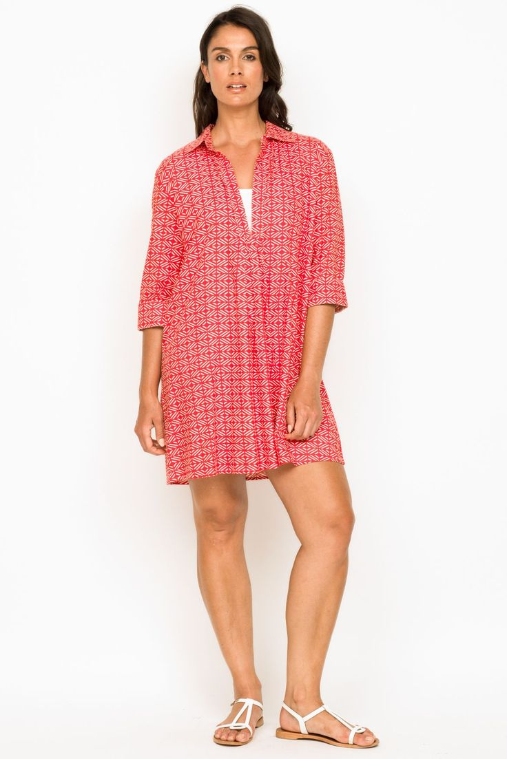 The perfect beach cover up! The Lucciola Clio in Geo Red