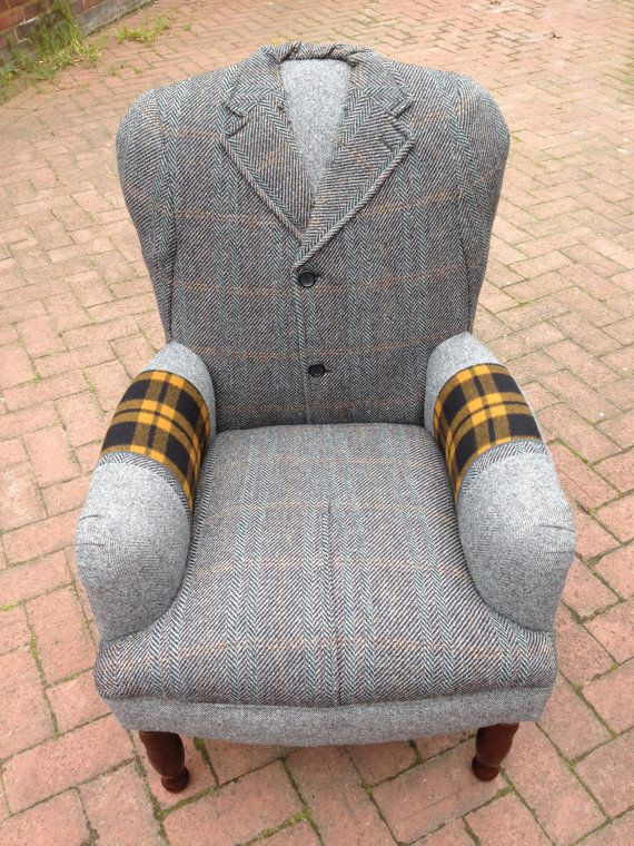 Upcycled 60's Original Dunn & Co Crombie Tweed Woolen Overcoat Covered Chair. LOVE!