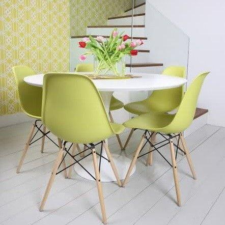 Cadeira Eiffel DSW Eames Sem Braço Pés Madeira Verde - ShopDesign