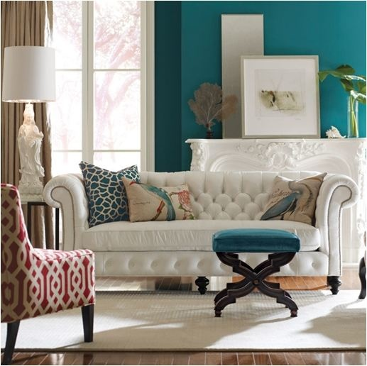 White Tufted Sofa, Teal Wall + Accents, Substitute Orange For Red? Teal  WallsTurquoise ... Part 65