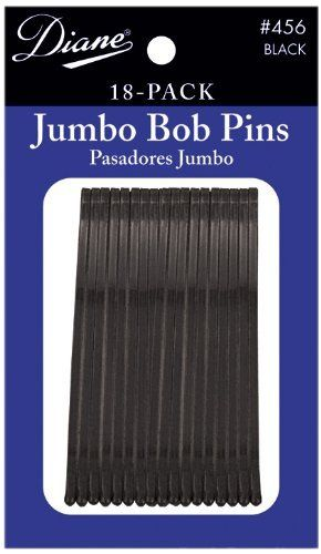 Diane Jumbo Bob Pins, Black, 18/card (Pack of 12) by Diane. $7.92. 18 per card. Simulated rubber tips. Flat style. 2.5 inches. Black. 2.5 inches jumbo bob pins for hair. Great for up-dos. Simulated rubber tips. Flat style. Black. 18 per card.