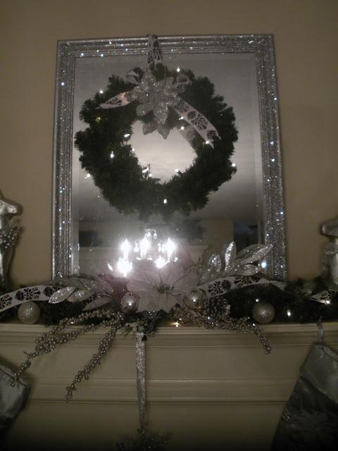 The Polka Dot Diva Glittered Bling Mirror For My Christmas Mantle