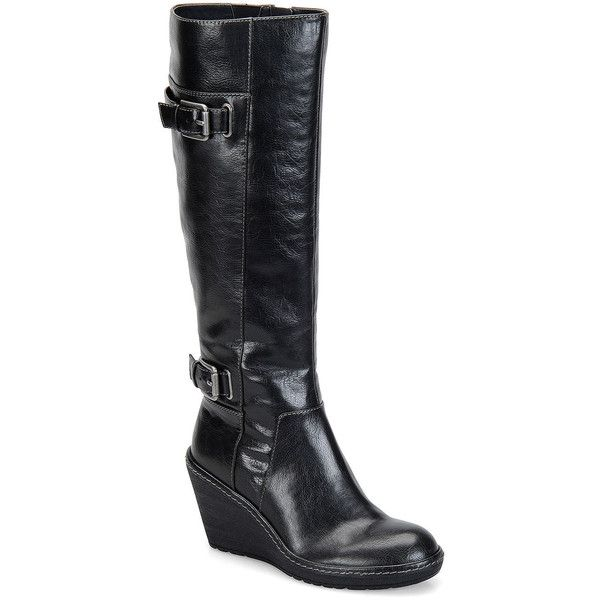 Eurosoft Alanah Wedge Tall Boot, Black (Size: 6 Medium) - Womens >... ($41) ❤ liked on Polyvore featuring shoes, boots, wedge riding boots, knee high wedge boots, black wedge heel boots, tall black boots and black wedge boots