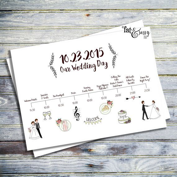Wedding Timeline Custom Wedding Program by fatandsassyink on Etsy