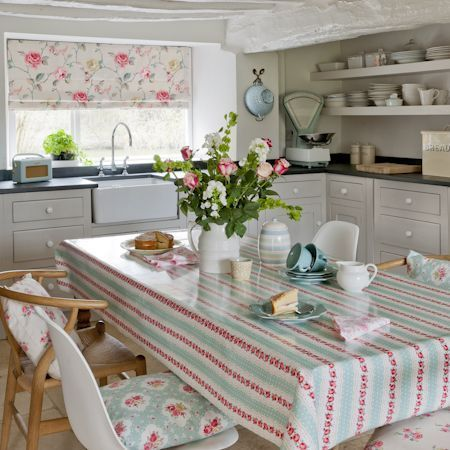 Clarke and Clarke - Rosetta Fabric Collection - Duck egg blue tablecloth with roses arranged in lines and cushions decorated with flowers