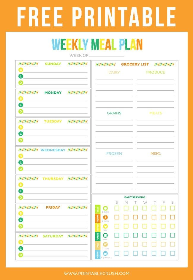 this free meal plan template with a grocery list is so handy to keep