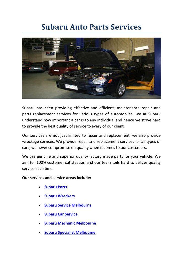 Subaru auto parts services