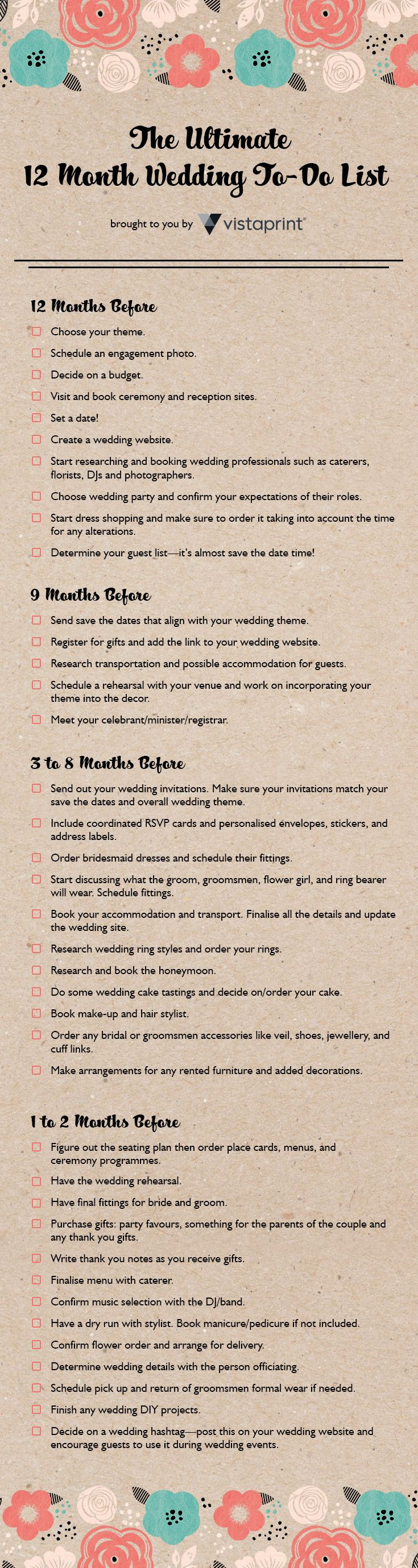 This is so helpful - VistaPrint's wedding planning checklist.