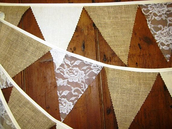 Rustic burlap ivory lace wedding bunting 17foot 29 by Spoonangels